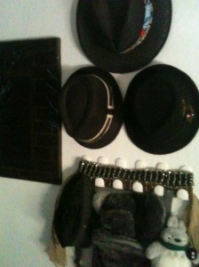 Zoomed out view of the bag, belt, hat, and scarf decorations.